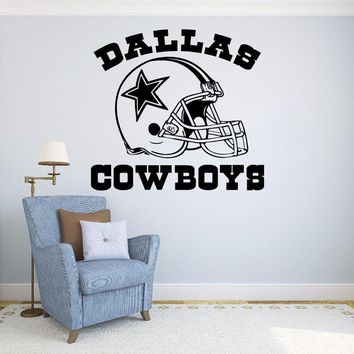 New fashionable quote Dallas Cowboys Vinyl wall Stickers Football Logo Sport wall decals Home Removable Decoration