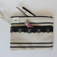 Cosmetic pouch with black lace, zipper pouch, makeup bag, wristlet