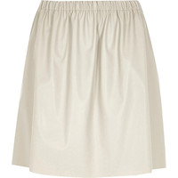River Island Womens Grey leather-look ruched skirt