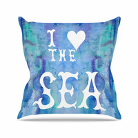 "Catherine Holcombe ""I Love The Sea 2"" Blue Teal Outdoor Throw Pillow"
