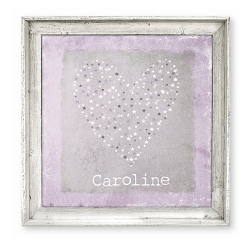 Personalized Girls Rustic Large Wall Art Ready To Hang Purple Heart Stars Barn Wood Frame, Whimsical Decor