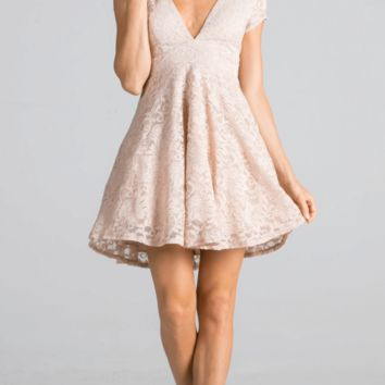 Love You Always And Forever Beige Deep Neckline Lace Dress