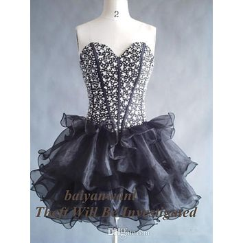 Real Photo 2015 Sweetheart Crystals Beads Black Organza Short Cocktail Dresses Custom Made Size 2 4 6 8 10 12 14 16 18++ C30