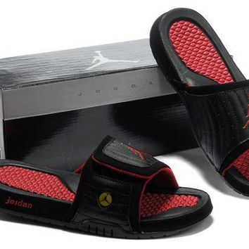 PEAPGE2 Beauty Ticks Nike Jordan Hydro Xiv Black/red Sandals Slipper Shoes Size Us 7-13