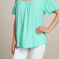 Mint Off Shoulder Blouse