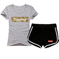 Supreme Women Men Fashion Leopard Print Cotton Sport Shirt Shorts Set Two-Piece Sportswear