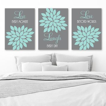 Live Laugh Love Wall Art, CANVAS or Prints, Gray Aqua Bedroom Pictures, Gray Aqua Bathroom Quotes Decor, Flower Wall Decor, Set of 3 Artwork