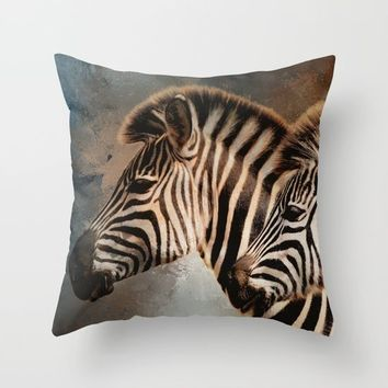 Plains Zebras Throw Pillow by Theresa Campbell D'August Art