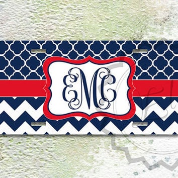 Personalized License Plate - Navy blue quatrefoil pattern and Navy blue chevron with Red monogram ribbon, customized plate - 355