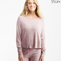 LLD Long Sleeve Marled Fuzzy Crew Popover Top