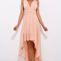 Pink Criss-Cross Back Asymmetrical Chiffon Dress