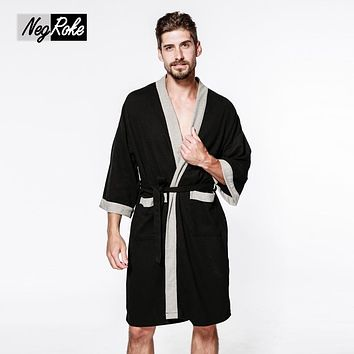 Sexy waffle cotton male robes bathrobes long-sleeved simple high quality hotel Sauna SPA bathrobes for men roupao Plus size New