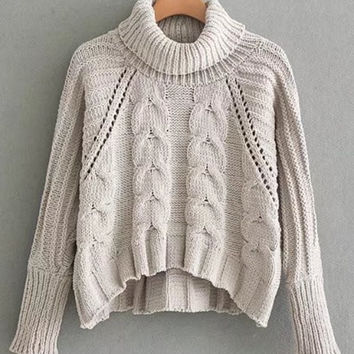 Pointelle Detail Turtleneck Cable Knit Sweater -SheIn(Sheinside)