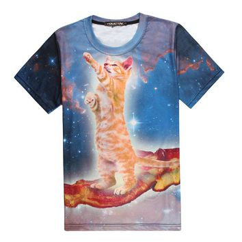 Bacon Space Cat 3D Print T-shirt Teenagers Unisex Costume Summer Tee Shirts Loose Homme Tops Kitty