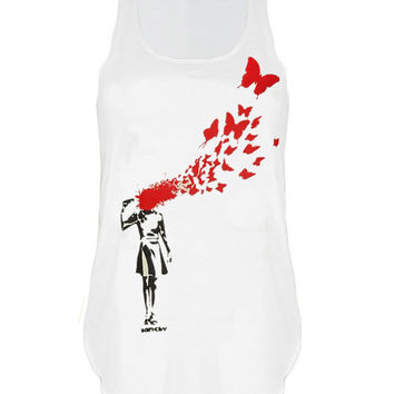 Banksy butterfly girl print top vest womens ladies tshirt