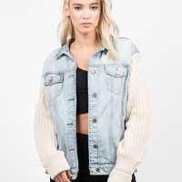 Knit Contrast Denim Jacket