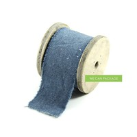 We Can Package 2 Inch Linen Muslin Cotton Ribbon for DIY Projects Wedding Invitation Ideas (Denim Blue)