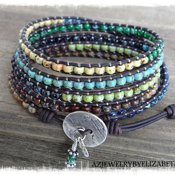 Boho Wrap Bracelet/ Seed Bead Leather Wrap Bracelet Handcrafted With Multi-color Picasso Seed Beads/ Beaded Wrap Bracelet/ Bohemian Bracelet