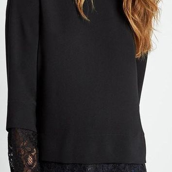 Black Round Neck Tunic With Lace Details