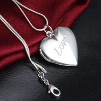 ON SALE - LOVE Sterling Silver Heart Locket Necklace