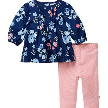 Offspring | Mixed Bouquet Woven Tunic & Leggings Set (Baby Girls) | Nordstrom Rack
