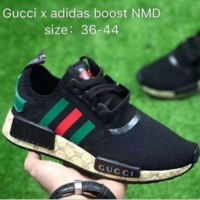 GUCCI Adidas NMD Fashion Women/Men Casual Running Sport Shoes Black green tail