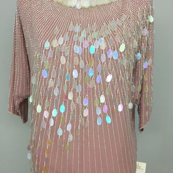 Cocktail Blouse Sequin Beaded Blouse Small Dusty Pink Designer Clothing Mother of Bride Formal Evening Wear Oleg Cassini Women Clothing