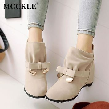 MCCKLE Women Spring Fashion Bowtie Ankle Boots Ladies Flock Slip On Height Increasing Shoes Female Sweet Pleated Plus Size 35-43
