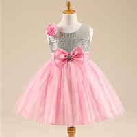 Girls Stunning Sparkly Pink Occasion Party Sequin Summer Dress