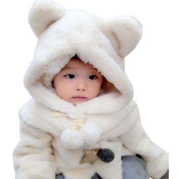 New 2017 Winter Baby Hats with Hood Scarf Cute Bear Ear Ball Warm Thick Plush Kids Baby Hat Cap for Boys and Girls Children Hat