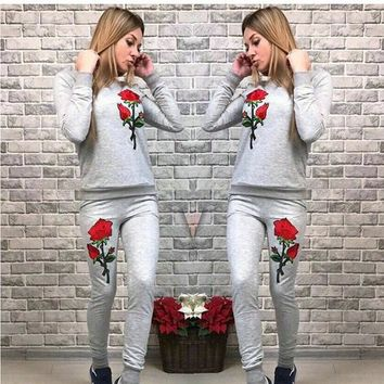 Grey Flowers Embroidery 2-in-1 Drawstring Waist Casual Long Jumpsuit