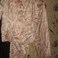 Vintage 1930s 1940s like new  pink flowers Satin  high waist Pajama Set by Weisman