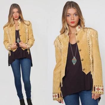 Vintage 80s Suede FRINGE Jacket BEADED Tribal Jacket CROP Western Jacket Leather Military Scully Jacket