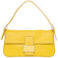 Fendi Neon Yellow Leather Baguette with Interchangeable Straps