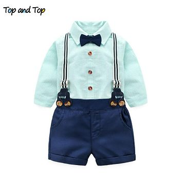 Fashion Cotton Baby Boys Clothes Summer Clothing Sets Long Sleeve Striped Shirts + Suspenders Pants + Bow Tie