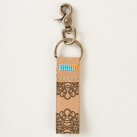 Leather Keychain Lace Embroidery Design