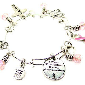 I Wear This Ribbon For My Grandmother Breast Cancer Awareness Bangle Chuck Full Of Charms Expandable Bangle Bracelet