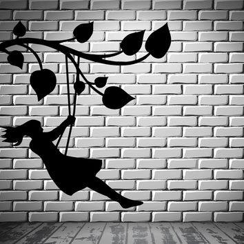 Girl on the Tree Branch Swing Kids Room Decor Wall Mural Vinyl Art Sticker Unique Gift M314