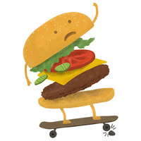 Terry Fan Burger Wipe-Out wall decal