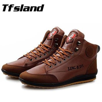 Tfsland Men Soft Splicing Easy-Match PU Leather Walking Shoes Men's Sneakers Male Autumn Winter Warm Boots Plus Size 39-44 Size