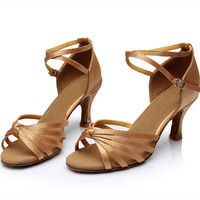 Women's Girl's sandals Professional Satin Upper Salsa Ballroom Latin High Heel Dance Shoes free shipping (more colors)