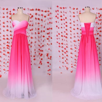 Beautiful pink gradient chiffon prom dresses coreset back,Evening party dress,Long sweetheart chiffon bridesmaid dresses,wedding party dress