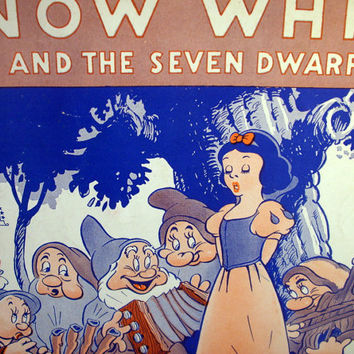 Vintage Snow White and the Seven Dwarfs / Sheet Music / Walt Disney Enterprises / 1930's / Whistle While You Work