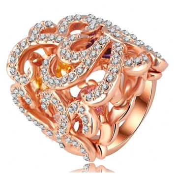 Fashion Lady Girls 18K Rose Gold Plated Punk Rhinestone Retro Wedding Finger Ring Women Engagement Band Bride Rings Zircon Diamond Austrian Crystal Jewelry Gifts = 1929441092