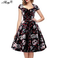 Elegant Skull Print Dress Women Vintage Square Collar Wrapped Chest Swing Rockabilly Pin Up Dress
