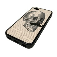 Apple iPhone 5C 5 C Case Cover Dapper Mustache Skull Page DESIGN BLACK RUBBER SILICONE Teen Gift Vintage Hipster Fashion Design Art Print Cell Phone Accessories