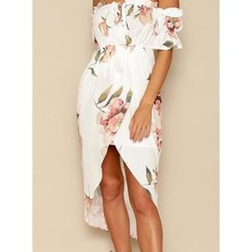 Sure Shot White Peach Green Short Sleeve Off The Shoulder Cross Wrap High Low Midi Dress