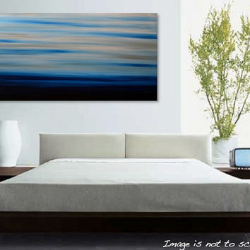 "HUGE 48"" Original Abstract Landscape Mountains Painting - Large Modern Acrylic Canvas Art- Blue, Grey, White: Whistler 48x24 - FREE Shipping"