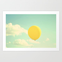 yellow balloon Art Print by Beverly LeFevre