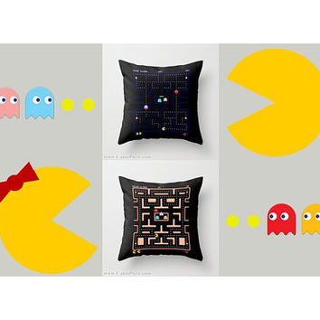 Ms. & Pac-Man Couple Video Game Throw Pillow 16x16 Graphic Decorative Cover Pop Culture Pac Man Gamer 80s 90s Namco Nerdy Nerd Geek Geekery
